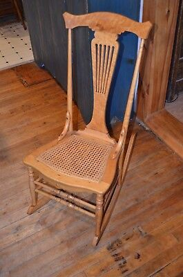 1800's curly maple heart back small rocking chair-restored antique