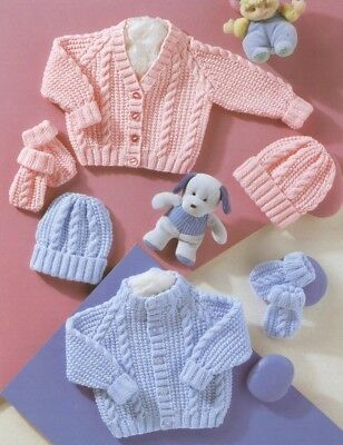 Baby Toddler Knitting Pattern copy 8 Ply Cardigans Hats  Including PREMMIE size