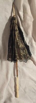 Antique Large French Doll/Child Umbrella Parasol Black Chantilly Lace & Silk
