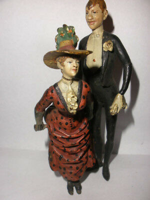 Amazing antique Vienna bronze cold painted miniature Victorian woman man figure