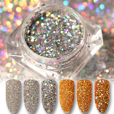 Holographic Laser Nail Art Sequins Glitter Powder Tips Gold Silver Born Pretty