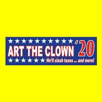 """ART THE CLOWN '20"" President BUMPER STICKER prop horror movie Terrifier creepy"