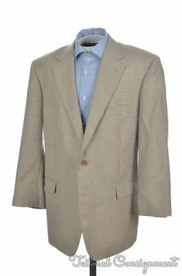 BROOKS BROTHERS Houndstooth Check 100% Wool Mens Blazer Sport Coat Jacket - 44 R