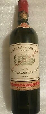 Vintage of the Century 1929 Chateau Margaux Grand Cru Collectable Empty Bottle