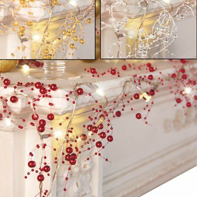 3 Colors 10-Feet Cordless Lighted Silver Berry-Beaded Holiday Christmas Garland
