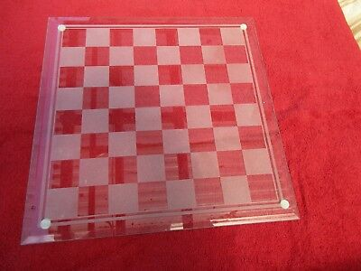 Large  35 x 35 cm Frosted Glass Chess Board Complete Game Set