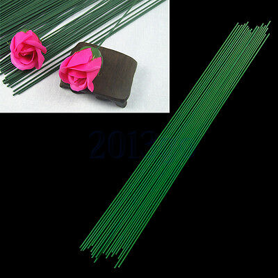 15Pcs Green Floral Tape Iron Wire Artificial Flower Stub Stems Craft Décor YG