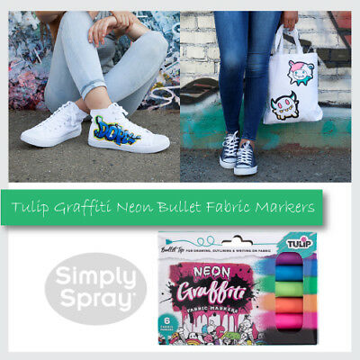 NEW Tulip Graffiti NEON BULLET Fabric Marker - 6 pack - FREE POST