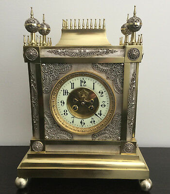 French Gothic style Brass and Silver Mantel Clock