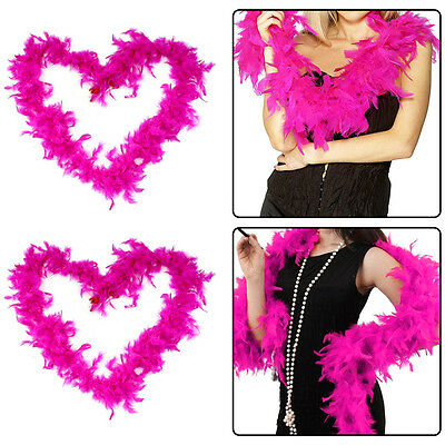 2M Fluffy Feather Boa Flower Craft For Party Wedding Dress Up Costume Pink