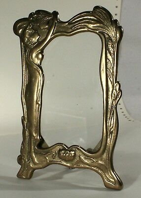 Vintage Art Deco Nouveau Stand Up Ornate Brass Picture Frame/Lady With Flowers