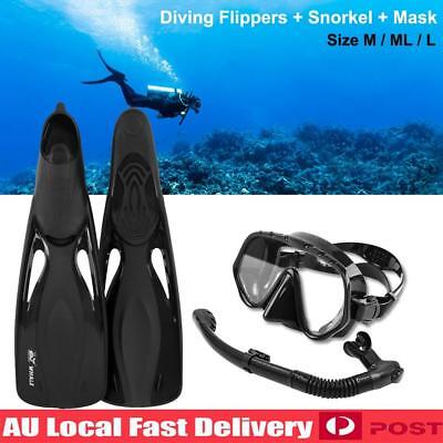 Adult Snorkeling Dry Snorkel Tempered Mask Fins Diving Swimming Goggles Set