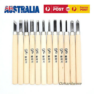Wood Carving Chisels Set Diy Tool Steel Blades Solid Wooden Handles pack of 12