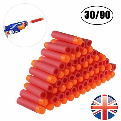 90Pcs Gun Soft Refill Bullets Darts Round Head Blaster For Nerf N-Strike Mega Uk