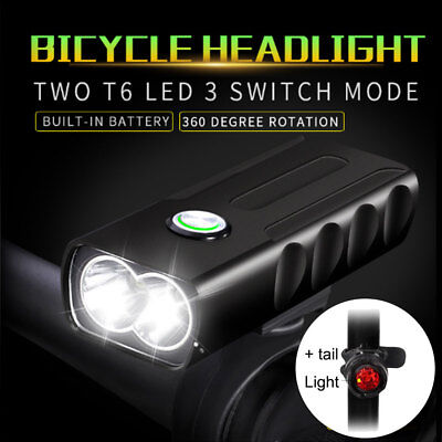 New BX2 CREE T6 LED Bike Light USB Rechargeable Front Lamp Torch + Rear Light AF