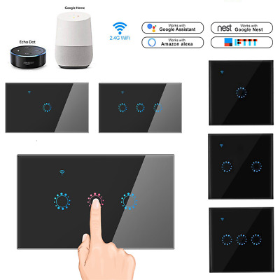 Hiwowpsort 2 Gang Smart WiFi US//AU Panel Touch Switch Wall Retome Control Light