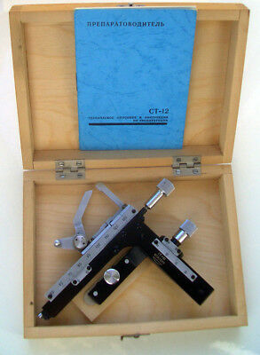 New LOMO CT-12 Device of the preparation Microscope stage in Wooden Box ST-12