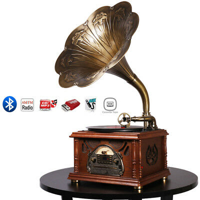 Bluetooth Phonograph Record Music Player Version Gramophone Aux-In CD FM Radio