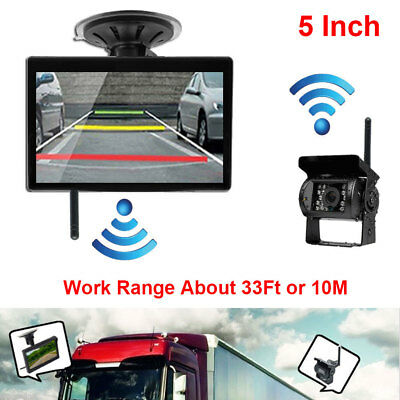 """5"""" HD LCD Monitor Wireless Rear View Backup Camera Night Vision For RV Truck Bus"""
