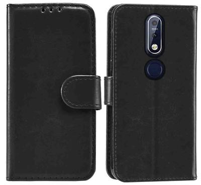 Black Wallet Flip Stand Case Cover for Nokia 7.1 with Card Holder
