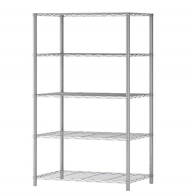 "5 Tier Adjustable Wire Shelving Rack 60""x29.5""x14"" Heavy Duty Layer Steel Shelf"