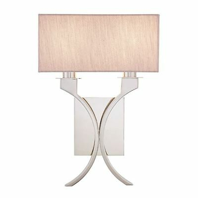 Vienna Twin Wall Light With Beige Rectangular Fabric Shades - Interiors