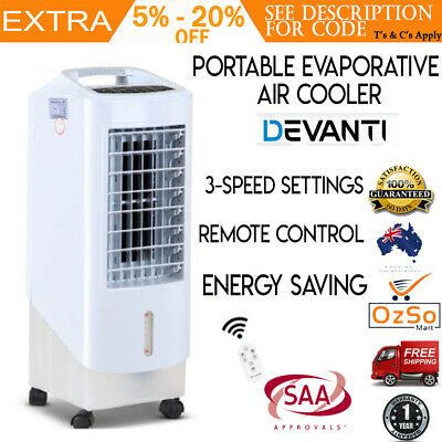 Devanti Portable Fan Evaporative Air Cooler Water Conditioner 7.8L Rechargeable