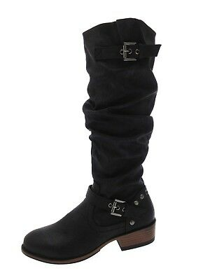 Womens Knee High Biker Slouch Riding Boots Studs Straps Buckle Ladies Size 3 - 8