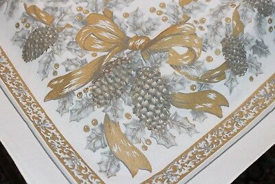 Vintage Christmas Tablecloth 52x68 Gold and Silver Holly Pine Cones Ribbon