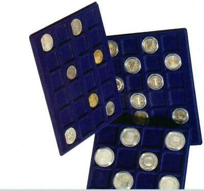 Two 192mm x 237mm Blue Felt velvet CARGO S6 Coin display trays 47mm 41mm 33mm