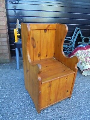Childs High Back Pine Pew/ Monks Chair with Under Seat Storage