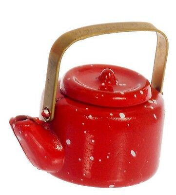 1:12 Scale Red Spotted Metal Kettle Dolls House Miniature Kitchen Accessory