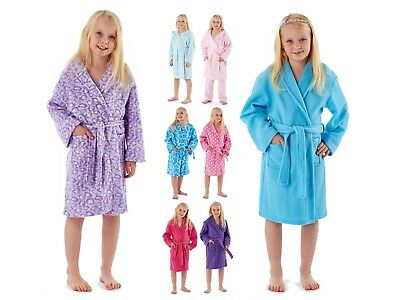 Girls Hooded Dressing Gown Soft Fleece Bathrobe Novelty Winter Housecoat Size