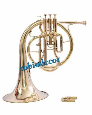 Antique Solid Brass Horn Mellophones Replica French Horn Brass Polish With Box