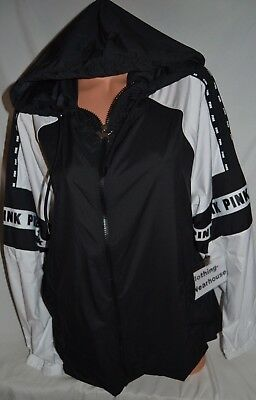 a7cf7e93f03a6 VICTORIA'S SECRET PINK Full Zip Hoodie Anorak Jacket Windbreaker Black  White M/L