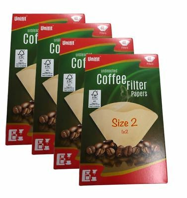 160 X Size 102 1X2 Coffee Filter Paper Cones Unbleached For DeLonghi/Melitta