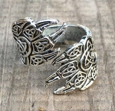 Celtic Viking Silver Plate Ring Wolf / Bear Paws Pendant Ring - FREE GIFT!
