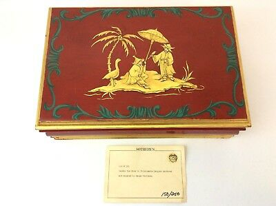 Vintage Used Chinese Chinoiserie Lacquer Felt Lined London Box Jewelry Trinket
