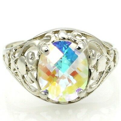 • SR004, 10x8mm Mercury Mist Topaz, Sterling Silver Ladies Ring -Handmade