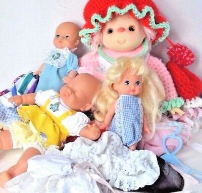 Dolls Vintage lot dolls clothes 80s baby dress knitted doll knit Lil Miss Doll