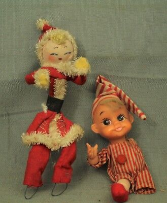 vintage old 1940s Skinny Santa Claus doll felt cloth figurine & Handicapped Elf