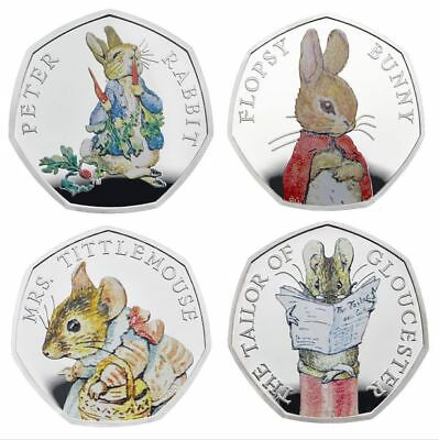 Full set 2018 Beatrix Potter 50p COLOURED Coins Peter Rabbit Mrs Tittlemouse UK