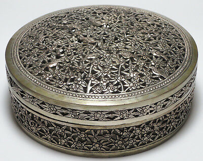 Antique Cambodian Treasures Silver BETEL BOX Expertly Carved Birds And Florals