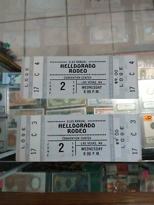Lot Of 2 *Helldorado*Rodeo*Convention Center*Las Vagas*1982*Tickets*Elks Annual*