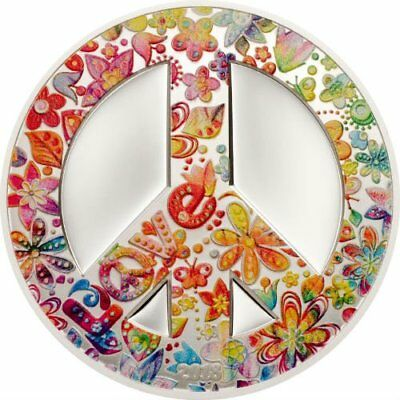 SUMMER OF LOVE - PEACE SIGN - 2018 $5 1 oz Pure Silver Coin - Palau CIT