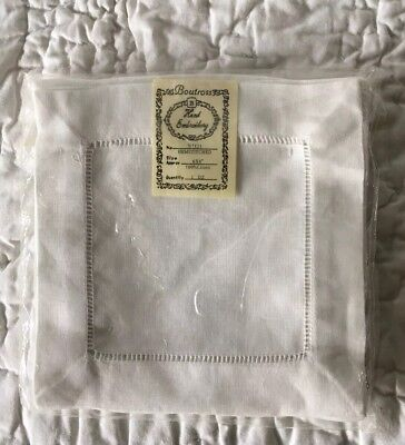 Boutross Vintage Hand Embroidery Hemstitched 12 Linen Cocktail Napkins NIP