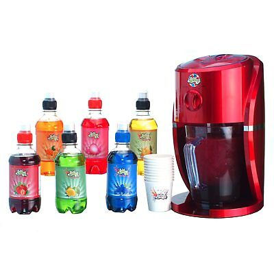 Metallic Red Ice Crusher Slushie Maker Kit with 6 flavoured syrups cups straws