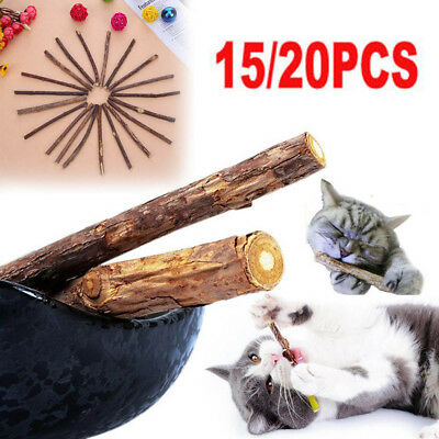 15/20pcs Cat Snacks Natural Matatabi Chew Catnip Pet Stick Teeth Molar Brush Toy