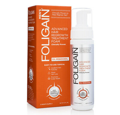 Foligain Minoxidil 5% Hair Regrowth Foam For Men (177ml) 3 Month Supply