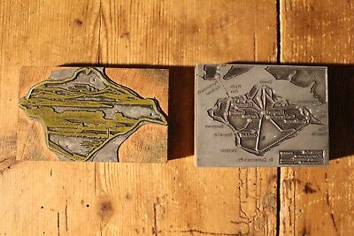 Antique Wood And Metal Printing Block Iow Isle Of Wight Maps X2 Letter Press Sta